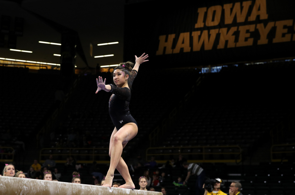 Iowa's Nicole Chow competes on the beam during their meet against the Minnesota Golden Gophers Saturday, January 19, 2019 at Carver-Hawkeye Arena. (Brian Ray/hawkeyesports.com)