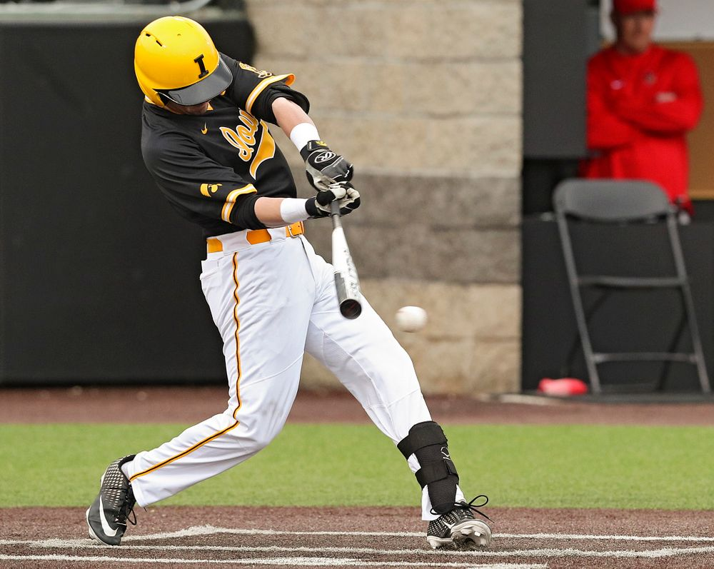 Iowa Hawkeyes left fielder Chris Whelan (28) bats during the third inning of their game against Illinois State at Duane Banks Field in Iowa City on Wednesday, Apr. 3, 2019. (Stephen Mally/hawkeyesports.com)
