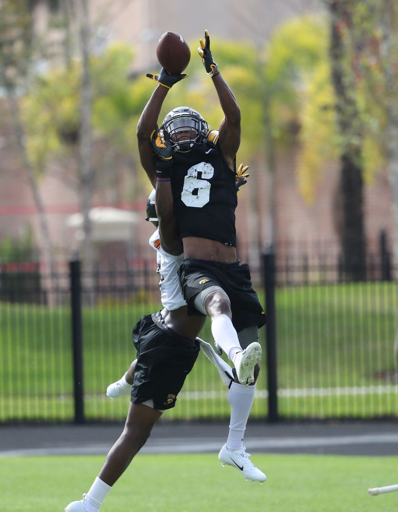 Iowa Hawkeyes wide receiver Ihmir Smith-Marsette (6) during practice for the 2019 Outback Bowl Friday, December 28, 2018 at the University of Tampa. (Brian Ray/hawkeyesports.com)