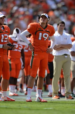 University of Miami Hurricanes quarterback Kevin Olsen #19 plays in a game against the Wake Forest Demon Deacons at Sun Life Stadium on October 26,...