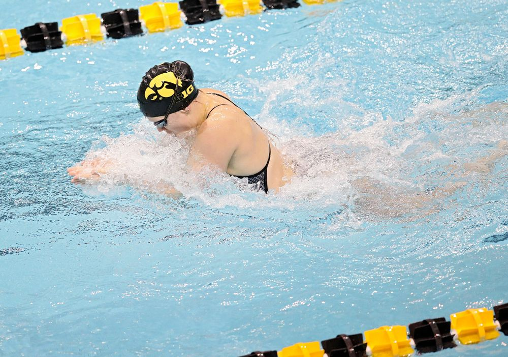 Iowa's Lauren McDougall swims the women's 100 yard individual medley event during their meet at the Campus Recreation and Wellness Center in Iowa City on Friday, February 7, 2020. (Stephen Mally/hawkeyesports.com)