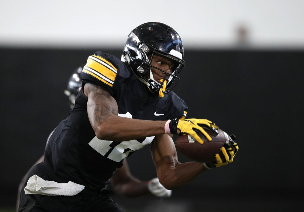 Iowa Hawkeyes wide receiver Brandon Smith (12) during preparation for the 2019 Outback Bowl Monday, December 17, 2018 at the Hansen Football Performance Center. (Brian Ray/hawkeyesports.com)