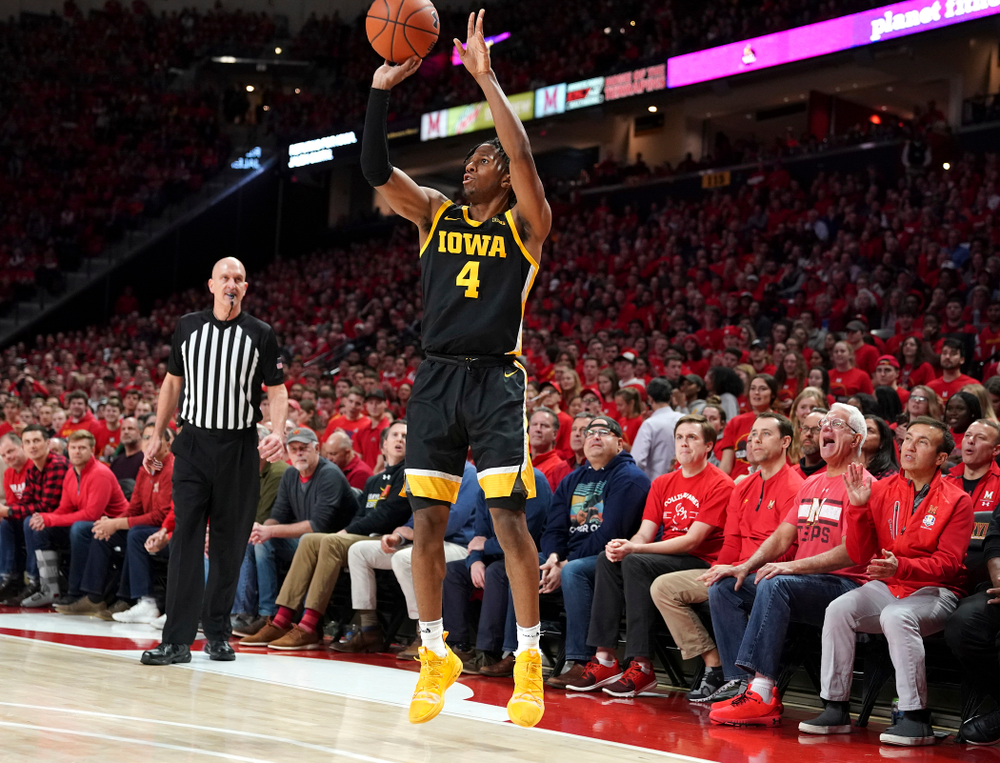 Iowa Hawkeyes guard Bakari Evelyn (4) puts up a shot during their game at the Xfinity Center in College Park, MD on Thursday, January 30, 2020. (University of Maryland Athletics)