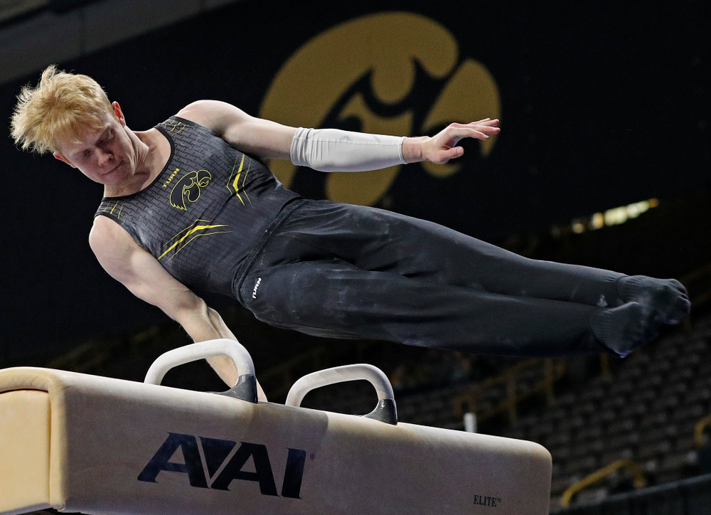 Iowa's Nick Merryman competes in the pommel during the first day of the Big Ten Men's Gymnastics Championships at Carver-Hawkeye Arena in Iowa City on Friday, Apr. 5, 2019. (Stephen Mally/hawkeyesports.com)