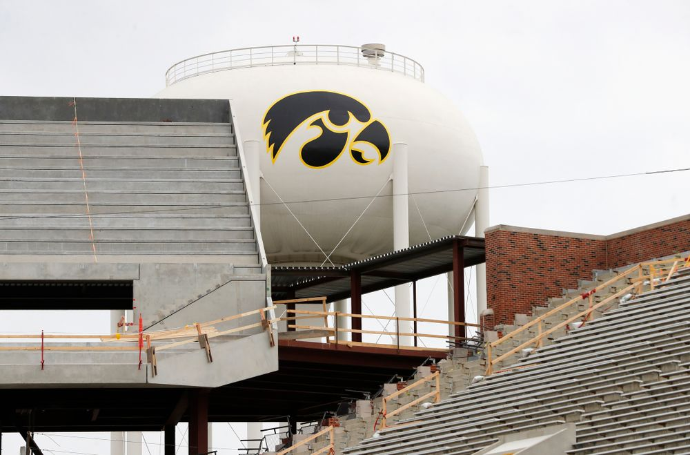 The view of the water tower tiger hawk from the east hash mark of the south 15 yard-line Wednesday, June 6, 2018 at Kinnick Stadium. (Brian Ray/hawkeyesports.com)