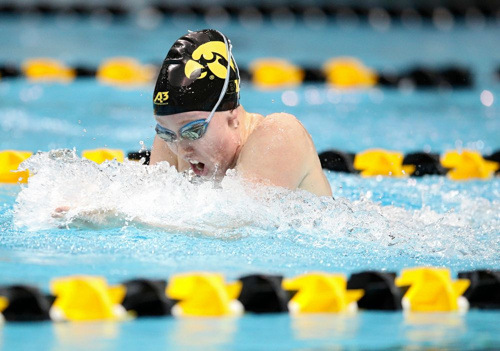 Iowa's Paige Hanley swims the breaststroke section in the women's 400 yard medley relay event during their meet at the Campus Recreation and Wellness Center in Iowa City on Friday, February 7, 2020. (Stephen Mally/hawkeyesports.com)