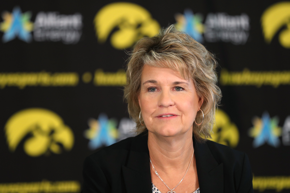 Iowa Hawkeyes head coach Lisa Bluder  addresses reporters during the team's annual media day Wednesday, October 31, 2018 at Carver-Hawkeye Arena. (Brian Ray/hawkeyesports.com)