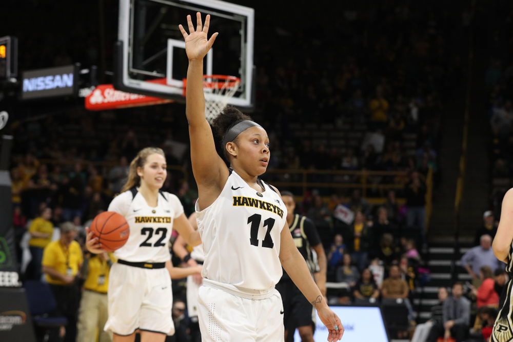 Iowa Hawkeyes guard Tania Davis (11) celebrates their win against the Purdue Boilermakers Sunday, January 27, 2019 at Carver-Hawkeye Arena. (Brian Ray/hawkeyesports.com)