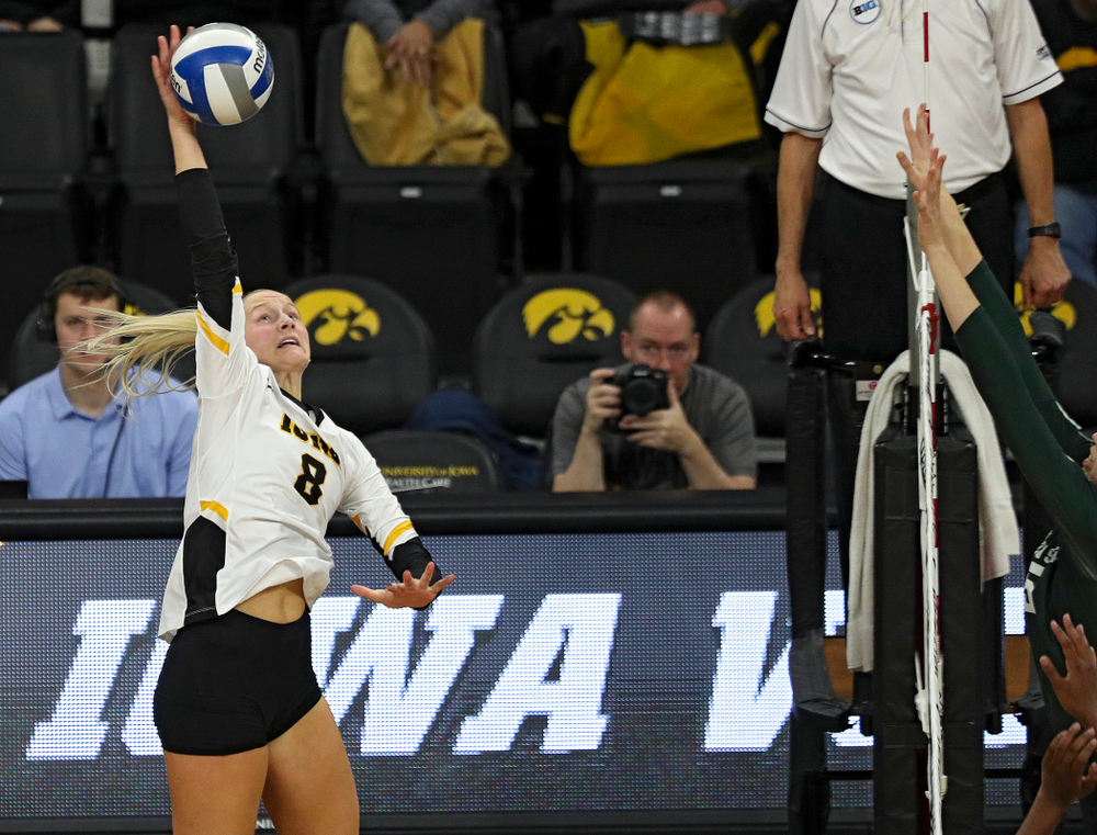 Iowa's Kyndra Hansen (8) lines up a kill during the third set of their volleyball match at Carver-Hawkeye Arena in Iowa City on Sunday, Oct 13, 2019. (Stephen Mally/hawkeyesports.com)