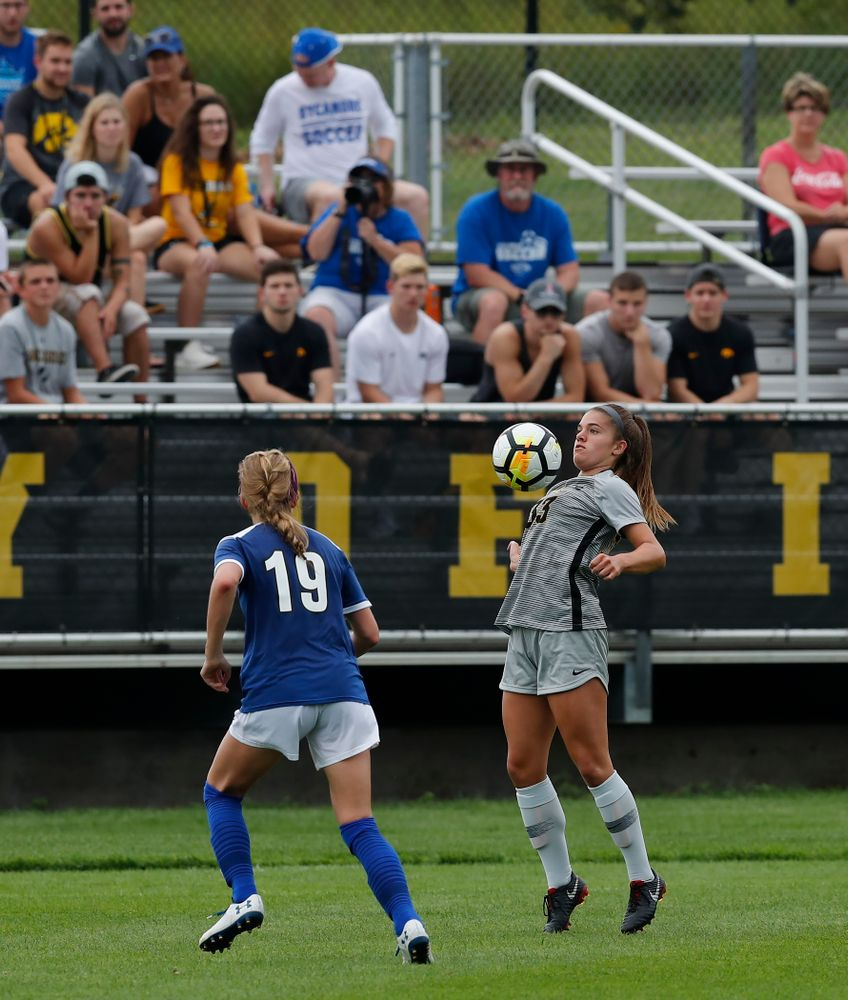 Iowa Hawkeyes Riley Burns (33) against Indiana State Sunday, August 26, 2018 at the Iowa Soccer Complex. (Brian Ray/hawkeyesports.com)