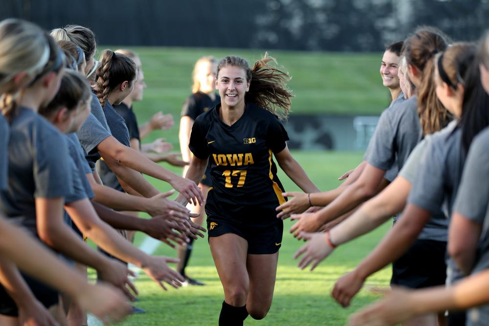 Iowa Hawkeyes defender Hannah Drkulec (17) against Western Michigan Thursday, August 22, 2019 at the Iowa Soccer Complex. (Brian Ray/hawkeyesports.com)