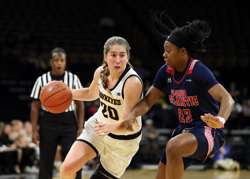 Iowa Hawkeyes guard Kate Martin (20) against Florida Atlantic University Thursday, November 7, 2019 at Carver-Hawkeye Arena. (Brian Ray/hawkeyesports.com)