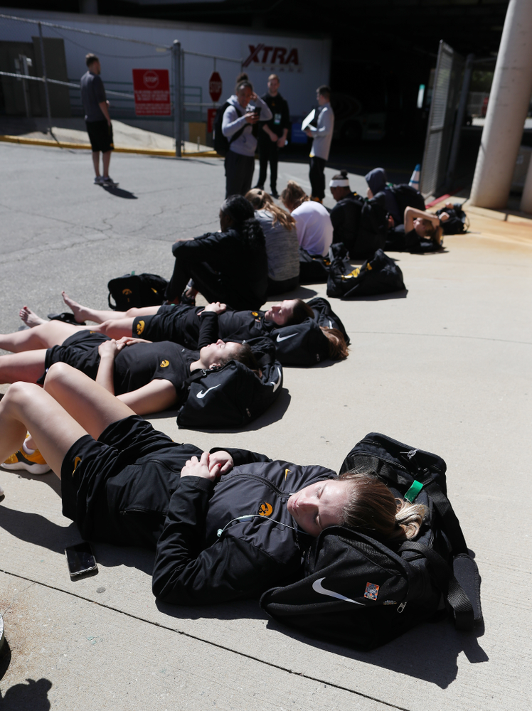 The Iowa Hawkeyes lay in the sun following practice and media before the regional final of the 2019 NCAA Women's College Basketball Tournament against the Baylor Bears Sunday, March 31, 2019 at Greensboro Coliseum in Greensboro, NC.(Brian Ray/hawkeyesports.com)