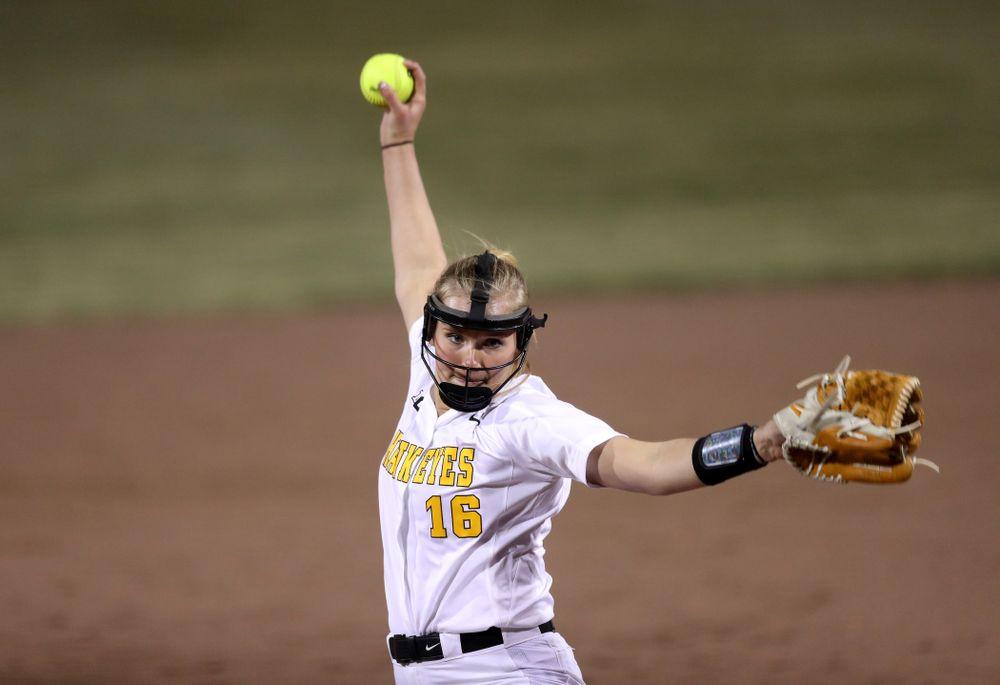 Iowa Hawkeyes Sarah Lehman (16) against Western Illinois Wednesday, March 27, 2019 at Pearl Field. (Brian Ray/hawkeyesports.com)