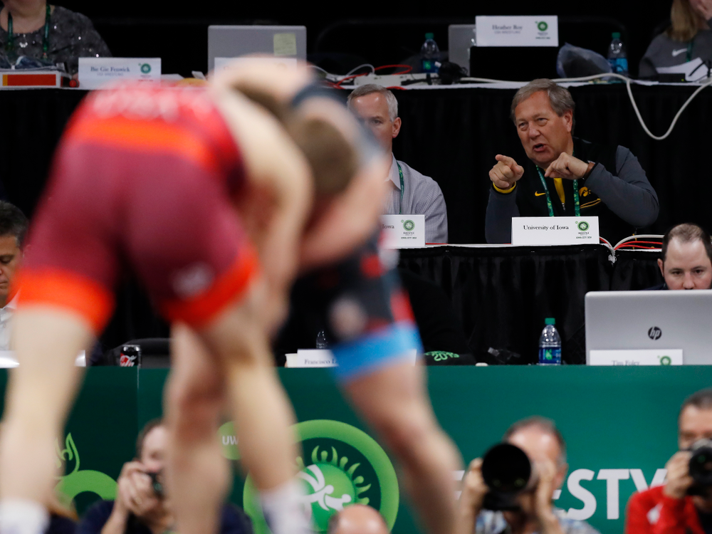 University of Iowa President Bruce Harreld during session three of the United World Wrestling Freestyle World Cup Sunday, April 8, 2018 at Caver-Hawkeye Arena. (Brian Ray/hawkeyesports.com)