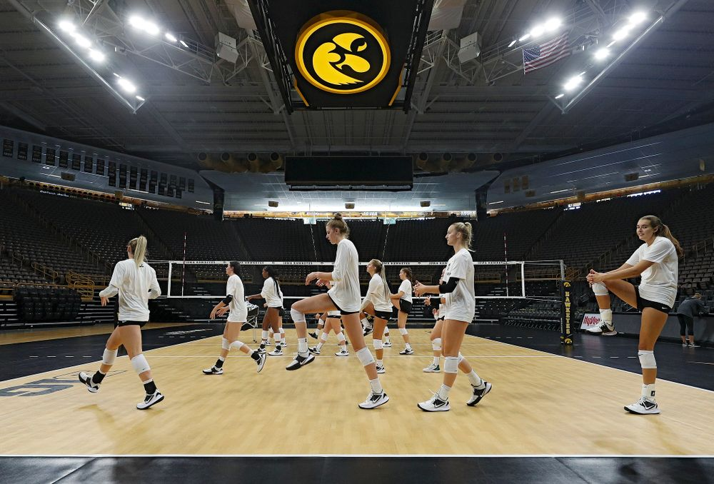 The Iowa Hawkeyes warm up during Iowa Volleyball's Media Day at Carver-Hawkeye Arena in Iowa City on Friday, Aug 23, 2019. (Stephen Mally/hawkeyesports.com)