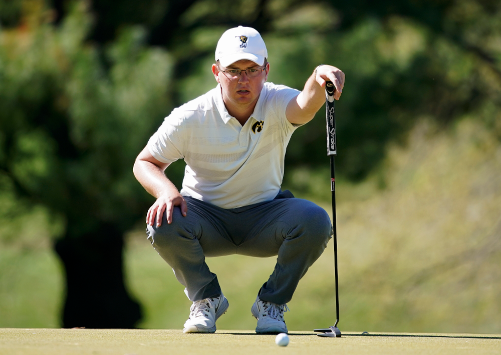 Iowa's Matthew Walker lines up a putt during the first round of the Hawkeye Invitational at Finkbine Golf Course in Iowa City on Saturday, Apr. 20, 2019. (Stephen Mally/hawkeyesports.com)