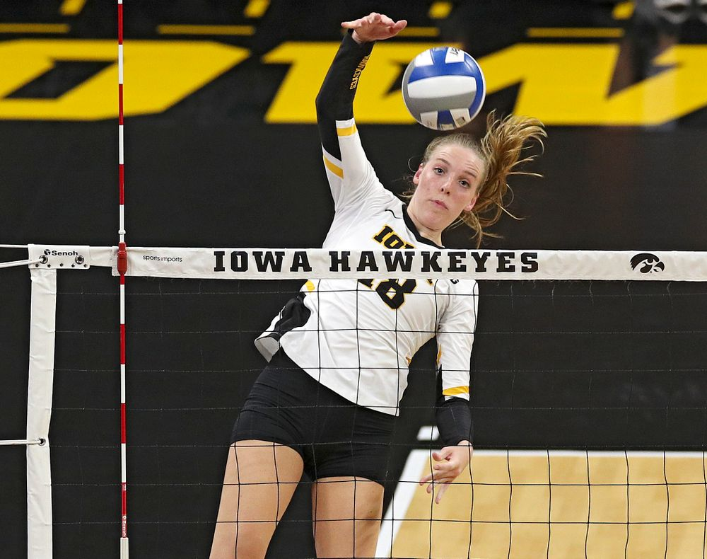 Iowa's Hannah Clayton (18) goes up for a kill during the second set of their Big Ten/Pac-12 Challenge match against Colorado at Carver-Hawkeye Arena in Iowa City on Friday, Sep 6, 2019. (Stephen Mally/hawkeyesports.com)