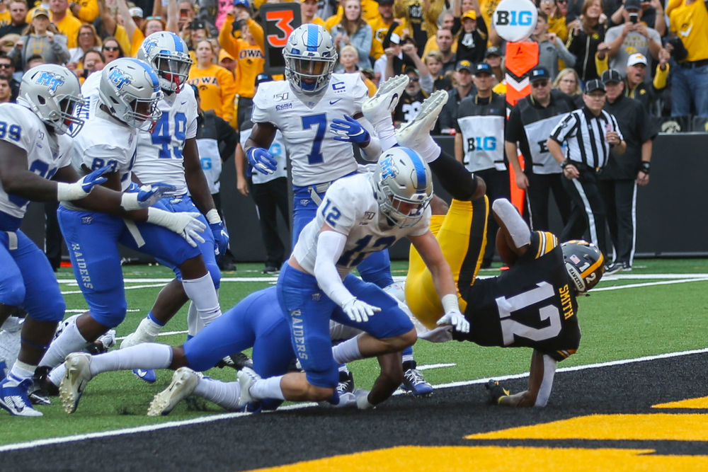 Iowa Hawkeyes wide receiver Brandon Smith (12) against Middle Tennessee Saturday, September 28, 2019 at Kinnick Stadium. (Lily Smith/hawkeyesports.com)