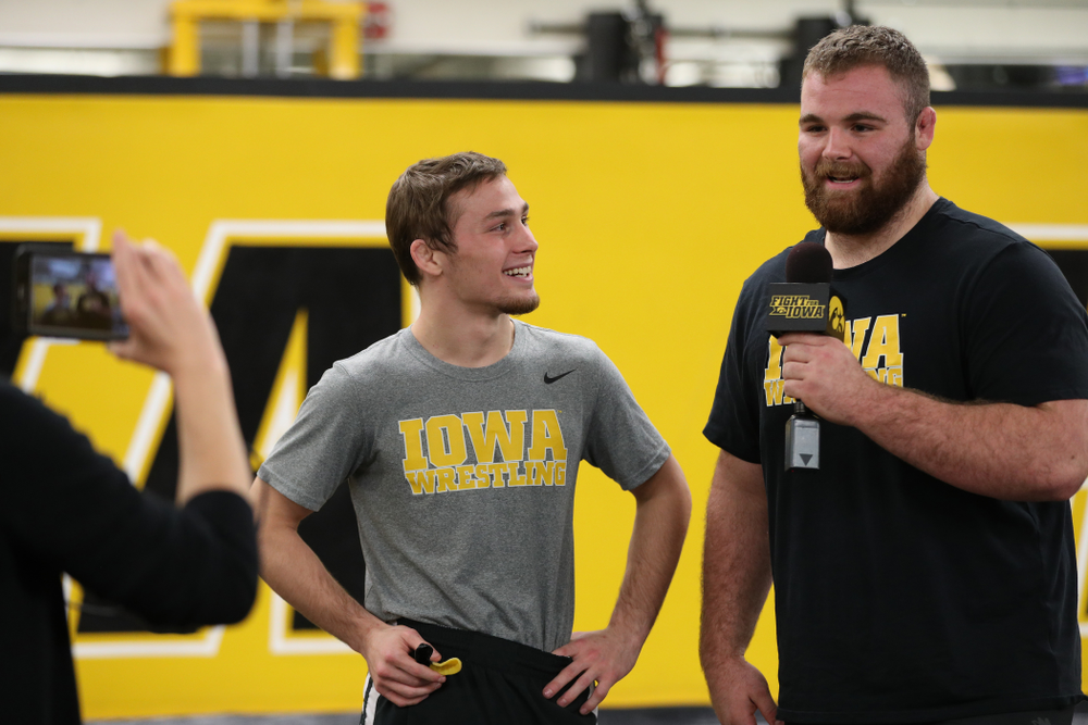 Iowa Hawkeyes Aaron Costello interviews 125 national champion Spencer Lee on Facebook Live during the team's annual media day Monday, November 5, 2018 at Carver-Hawkeye Arena. (Brian Ray/hawkeyesports.com)