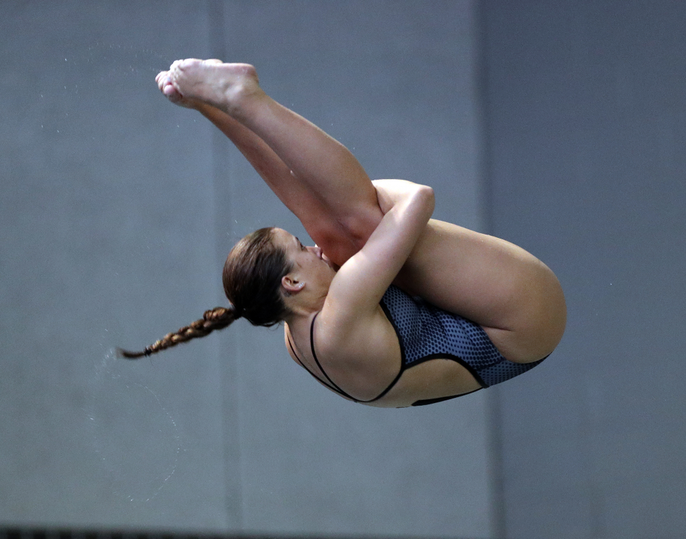 IowaÕs Jayah Matthews competes on the 3-meter springboard against the Michigan Wolverines Friday, November 1, 2019 at the Campus Recreation and Wellness Center. (Brian Ray/hawkeyesports.com)