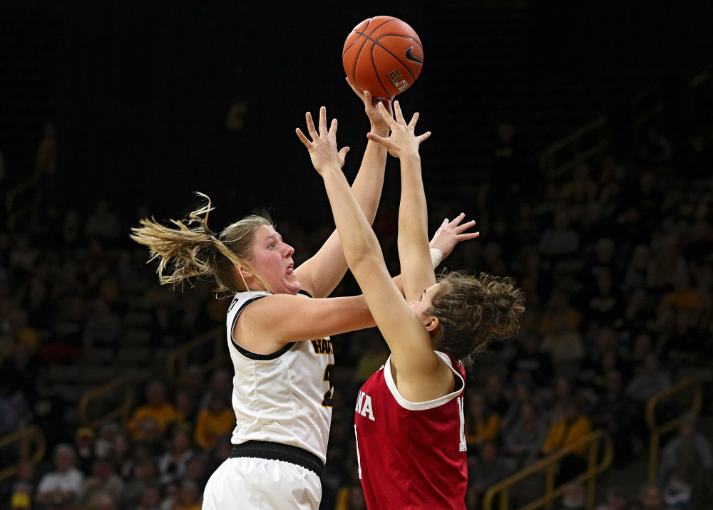 Iowa Hawkeyes forward Monika Czinano (25) puts up a shot during the third quarter of their game at Carver-Hawkeye Arena in Iowa City on Sunday, January 12, 2020. (Stephen Mally/hawkeyesports.com)