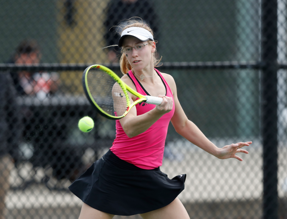 Montana Crawford against Minnesota Friday, April 20, 2018 at the Hawkeye Tennis and Recreation Center. (Brian Ray/hawkeyesports.com)