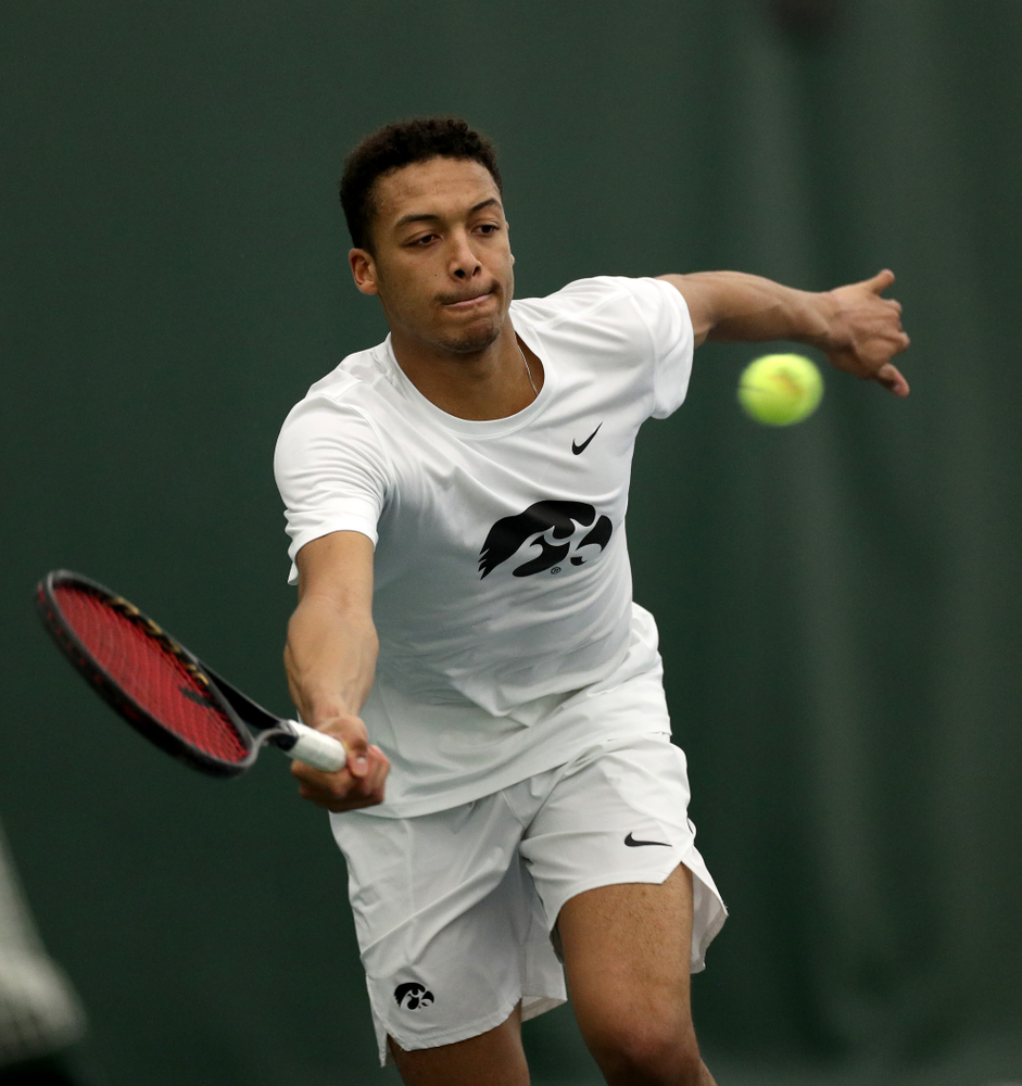 Iowa's Oliver Okonkwo against Cornell Sunday, March 8, 2020 at the Hawkeye Tennis and Recreation Center. (Brian Ray/hawkeyesports.com)