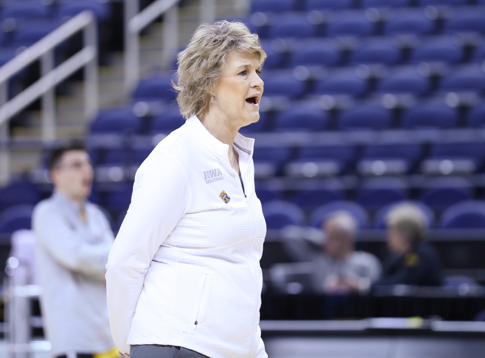 Iowa Hawkeyes head coach Lisa Bluder during practice and media before the regional final of the 2019 NCAA Women's College Basketball Tournament against the Baylor Bears Sunday, March 31, 2019 at Greensboro Coliseum in Greensboro, NC.(Brian Ray/hawkeyesports.com)