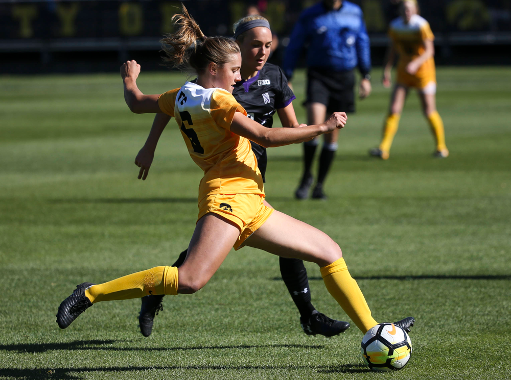Iowa Hawkeyes midfielder Isabella Blackman (6) passes the ball during a game against Northwestern at the Iowa Soccer Complex on October 21, 2018. (Tork Mason/hawkeyesports.com)