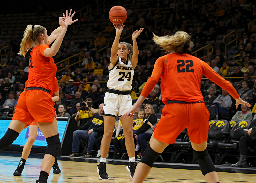 Iowa guard Gabbie Marshall (24) shoots during the second quarter of their overtime win against Princeton at Carver-Hawkeye Arena in Iowa City on Wednesday, Nov 20, 2019. (Stephen Mally/hawkeyesports.com)