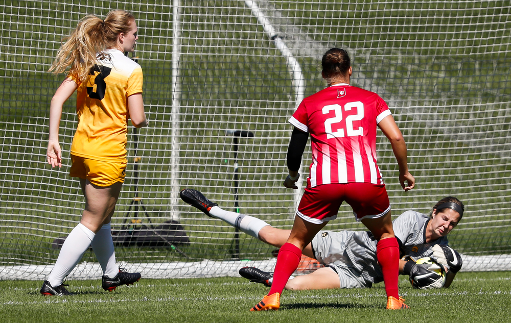 Iowa Hawkeyes goalkeeper Cora Meyers (00) makes a save during a game against Indiana at the Iowa Soccer Complex on September 23, 2018. (Tork Mason/hawkeyesports.com)