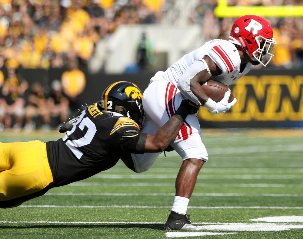 Iowa Hawkeyes linebacker Djimon Colbert (32) makes a tackle during the first quarter of their Big Ten Conference football game at Kinnick Stadium in Iowa City on Saturday, Sep 7, 2019. (Stephen Mally/hawkeyesports.com)