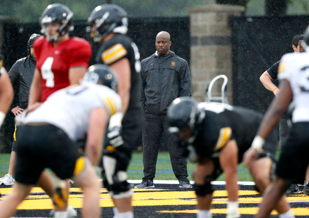BTN's Howard Griffith during camp practice No. 15  Monday, August 20, 2018 at the Hansen Football Performance Center. (Brian Ray/hawkeyesports.com)