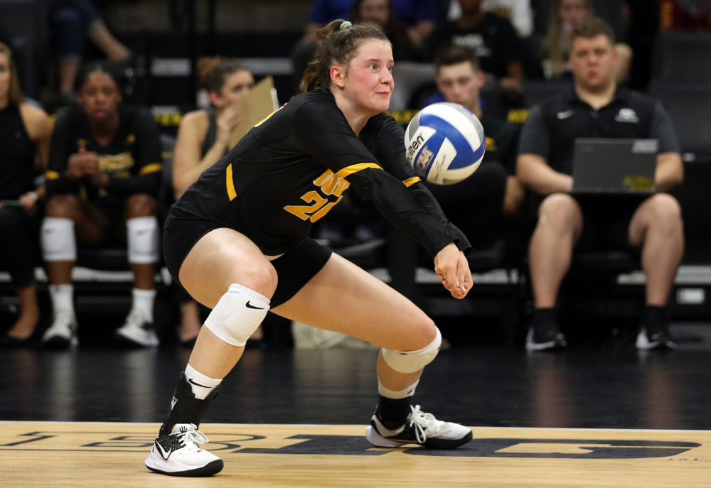 Iowa Hawkeyes outside hitter Edina Schmidt (20) against the Iowa State Cyclones Saturday, September 21, 2019 at Carver-Hawkeye Arena. (Brian Ray/hawkeyesports.com)