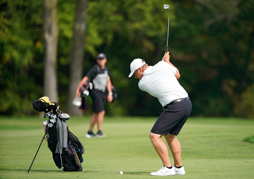 Iowa's Alex Schaake hits from the fairway during the second day of the Golfweek Conference Challenge at the Cedar Rapids Country Club in Cedar Rapids on Monday, Sep 16, 2019. (Stephen Mally/hawkeyesports.com)