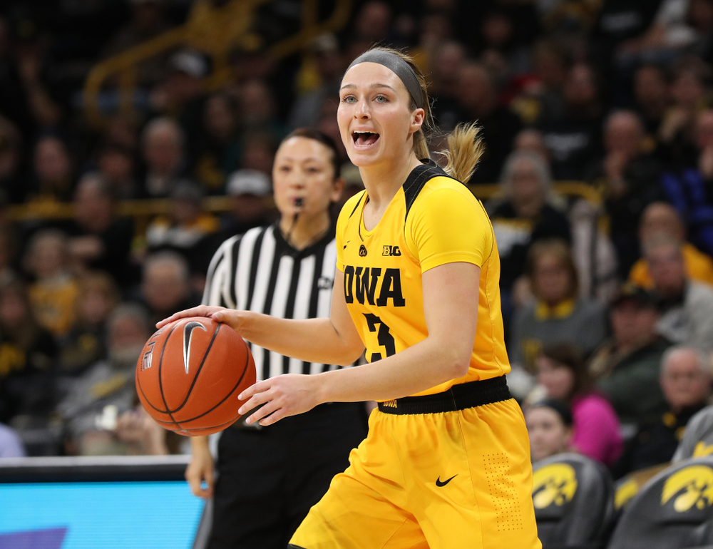 Iowa Hawkeyes guard Makenzie Meyer (3) against the Northwestern Wildcats Sunday, March 3, 2019 at Carver-Hawkeye Arena. (Brian Ray/hawkeyesports.com)
