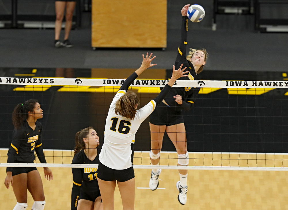 Iowa's Meghan Buzzerio (5) during the first set of the Black and Gold scrimmage at Carver-Hawkeye Arena in Iowa City on Saturday, Aug 24, 2019. (Stephen Mally/hawkeyesports.com)