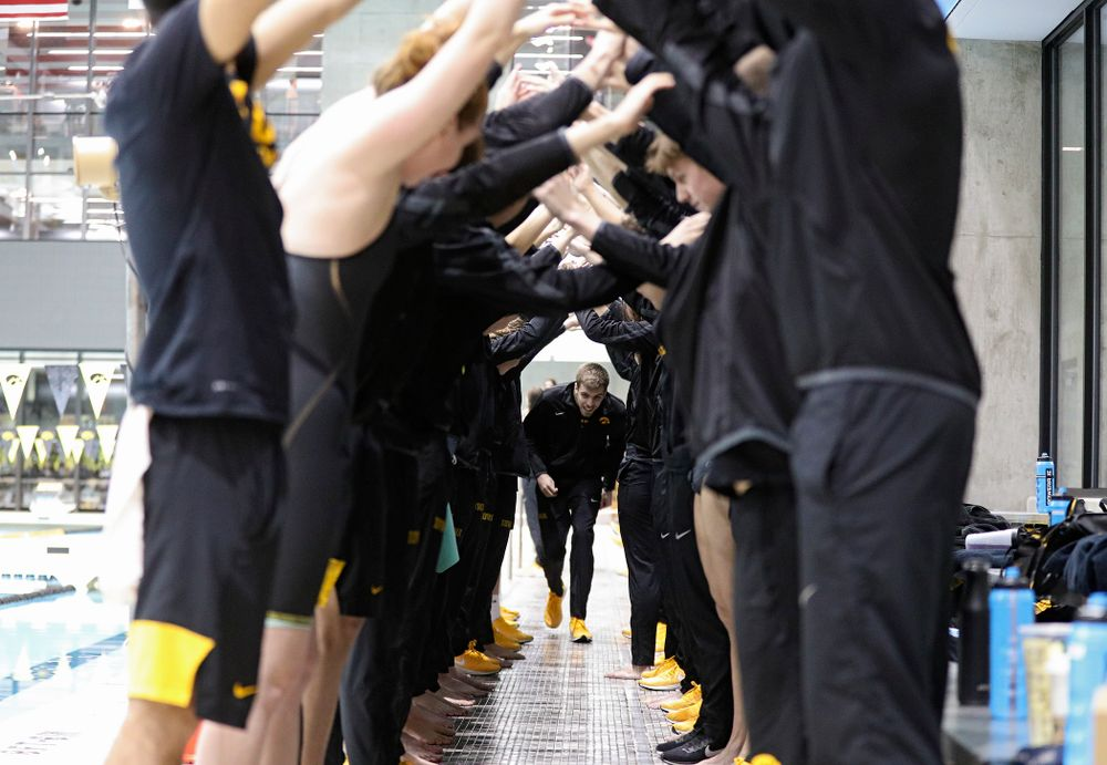 Iowa's Weston Credit is honored on senior day before their meet at the Campus Recreation and Wellness Center in Iowa City on Friday, February 7, 2020. (Stephen Mally/hawkeyesports.com)