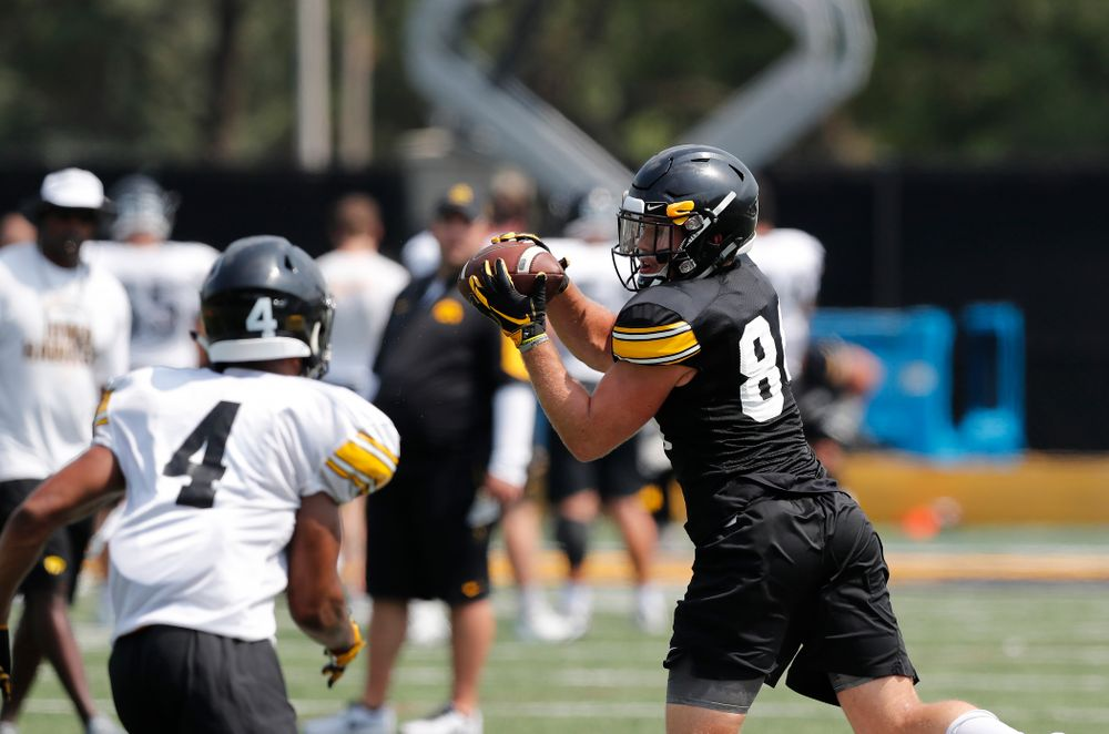 Iowa Hawkeyes wide receiver Nick Easley (84) during fall camp practice No. 9 Friday, August 10, 2018 at the Kenyon Practice Facility. (Brian Ray/hawkeyesports.com)