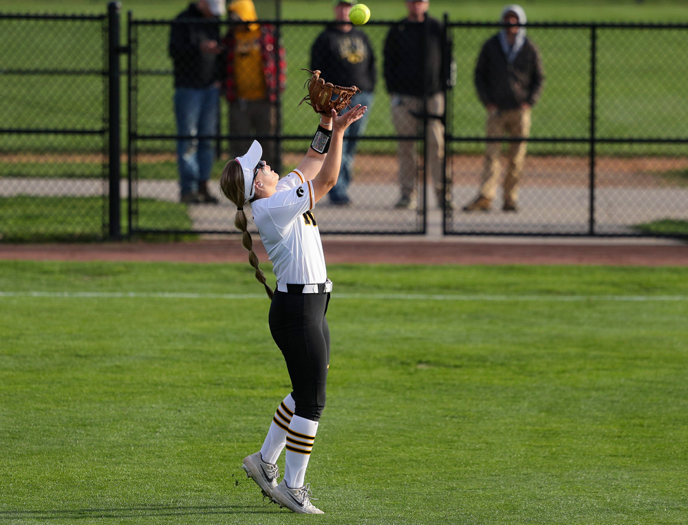 Iowa right fielder Cameron Cecil (1) pulls in a fly ball for an out during the fourth inning of their game against Ohio State at Pearl Field in Iowa City on Friday, May. 3, 2019. (Stephen Mally/hawkeyesports.com)