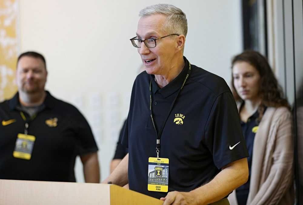 Andy Piro, assistant athletics director and executive director of the Varsity Club, speaks as the 2019 University of Iowa Athletics Hall of Fame exhibit is unveiled at the University of Iowa Athletics Hall of Fame in Iowa City on Friday, Aug 30, 2019. (Stephen Mally/hawkeyesports.com)