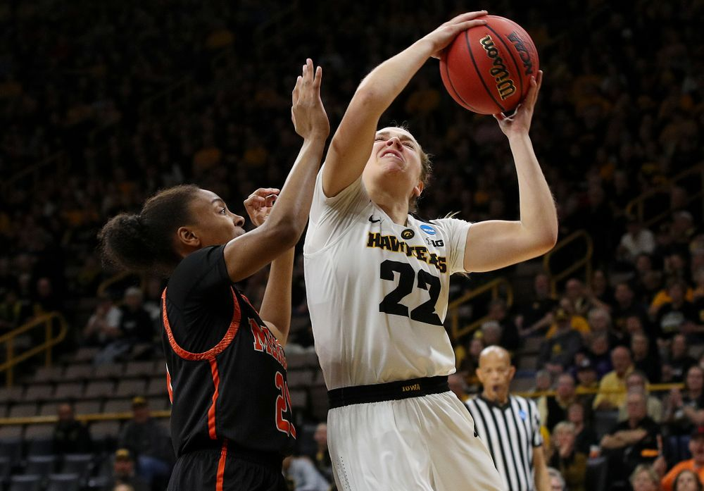 Iowa Hawkeyes guard Kathleen Doyle (22) puts up a shot during the first round of the 2019 NCAA Women's Basketball Tournament at Carver Hawkeye Arena in Iowa City on Friday, Mar. 22, 2019. (Stephen Mally for hawkeyesports.com)