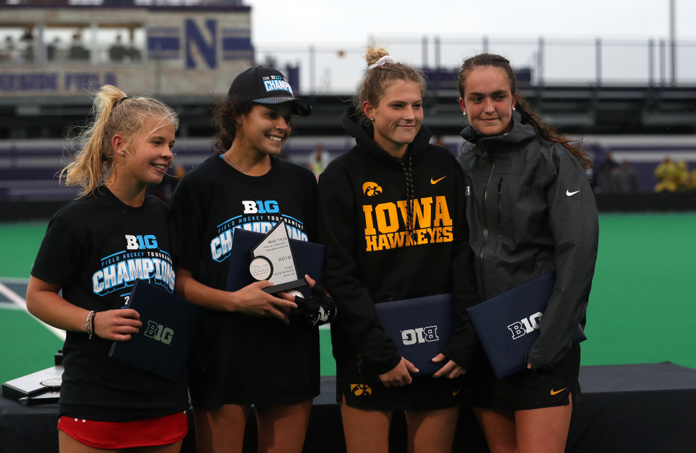 Iowa Hawkeyes Ellie Holley (7) and Anthe Nijziel (6) against Maryland during the championship game of the Big Ten Tournament Sunday, November 4, 2018 at Lakeside Field in Evanston, Ill. (Brian Ray/hawkeyesports.com)