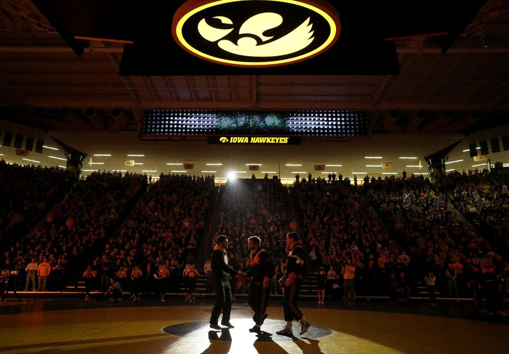 Michael Kemerer is introduced before the Iowa Hawkeyes meet against Oklahoma State's at pounds Sunday, February 23, 2020 at Carver-Hawkeye Arena. (Brian Ray/hawkeyesports.com)