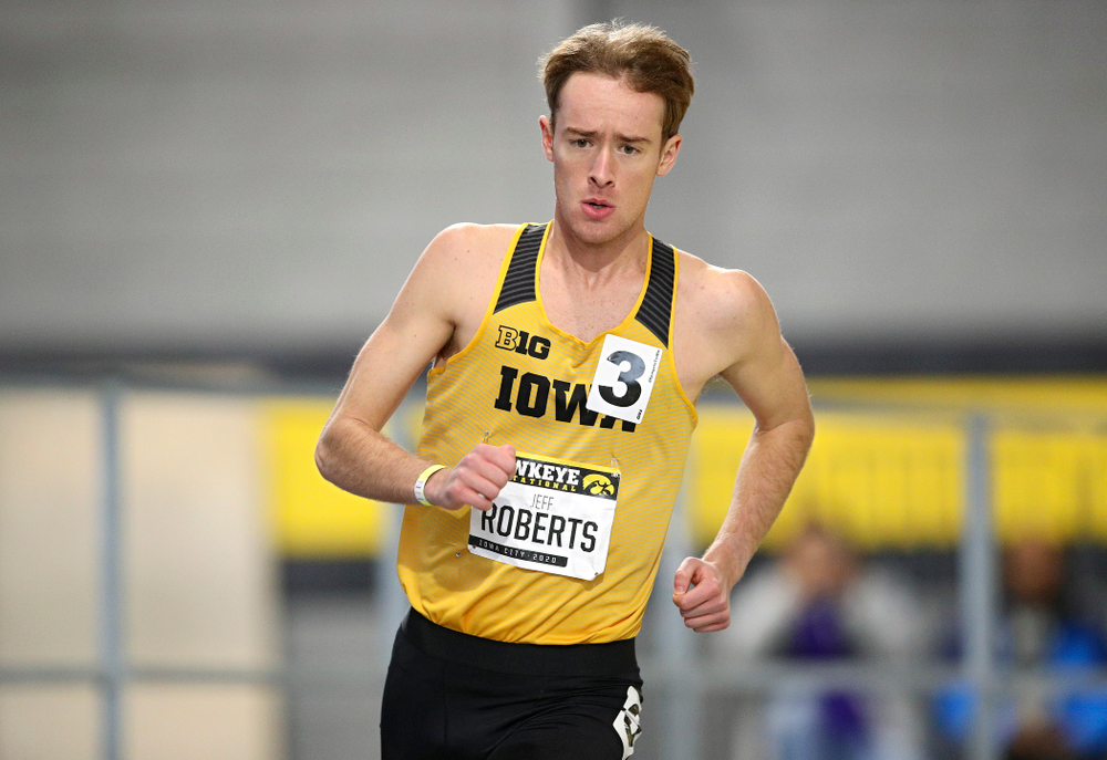 Iowa's Jeff Roberts runs the men's 1000 meter run event during the Hawkeye Invitational at the Recreation Building in Iowa City on Saturday, January 11, 2020. (Stephen Mally/hawkeyesports.com)