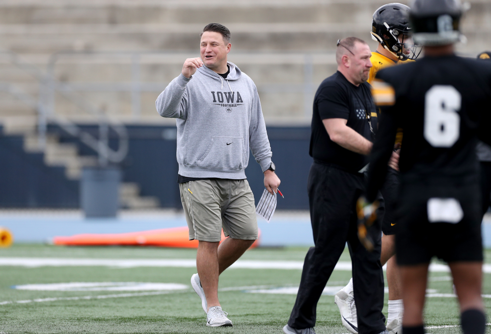 Iowa Hawkeyes offensive coordinator Brian Ferentz smiles during practice Sunday, December 22, 2019 at Mesa College in San Diego. (Brian Ray/hawkeyesports.com)