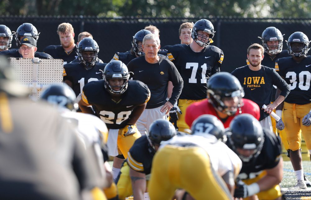 Iowa Hawkeyes head coach Kirk Ferentz  during camp practice No. 17 Wednesday, August 22, 2018 at the Kenyon Football Practice Facility. (Brian Ray/hawkeyesports.com)