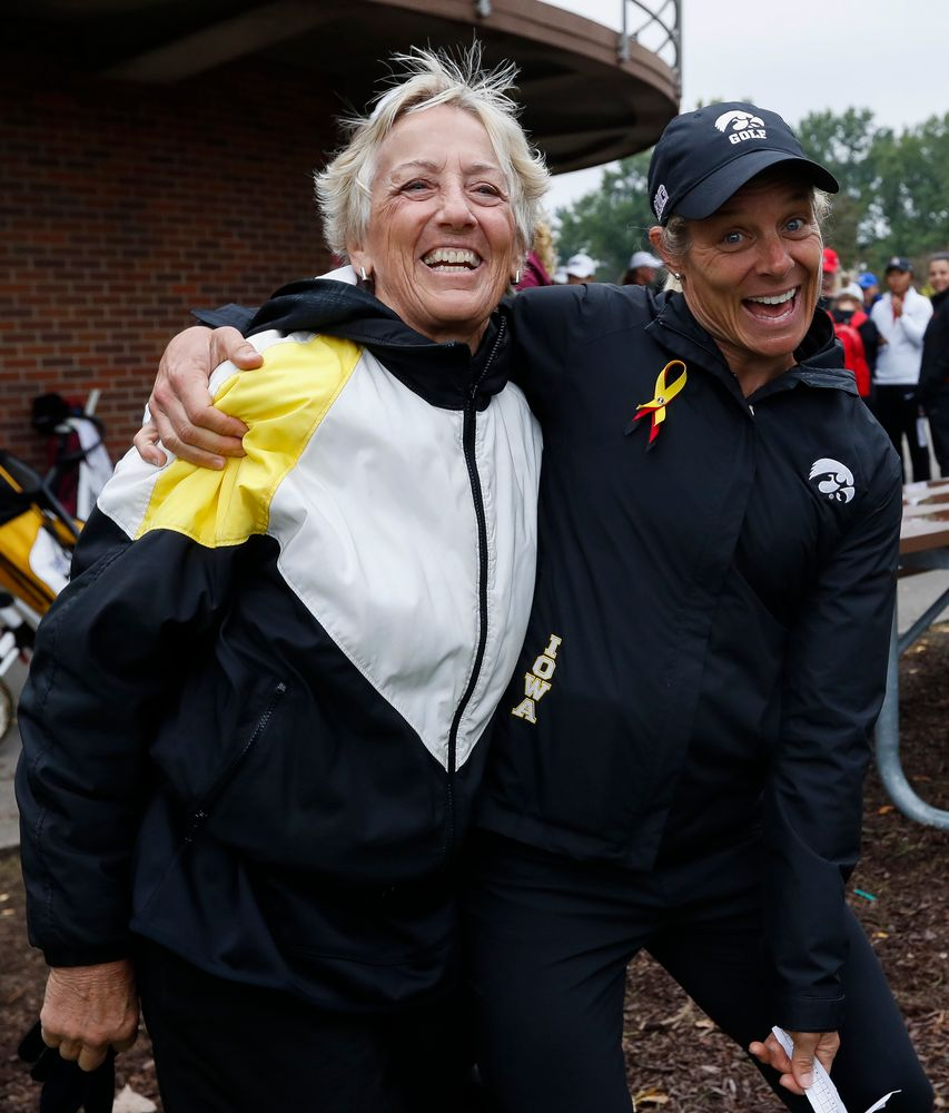 Former Iowa women's golf head coach Diane Thomason poses with current head coach Megan Menzel after the final round of the Diane Thomason Invitational at Finkbine Golf Course on September 30, 2018. (Tork Mason/hawkeyesports.com)
