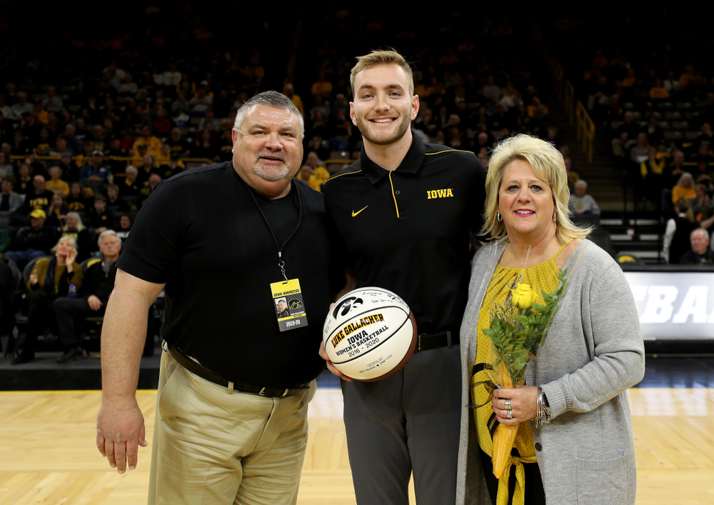 Iowa Women's Basketball Manager Luke Gallagher during senior day activities following their win over the Minnesota Golden Gophers Thursday, February 27, 2020 at Carver-Hawkeye Arena. (Brian Ray/hawkeyesports.com)